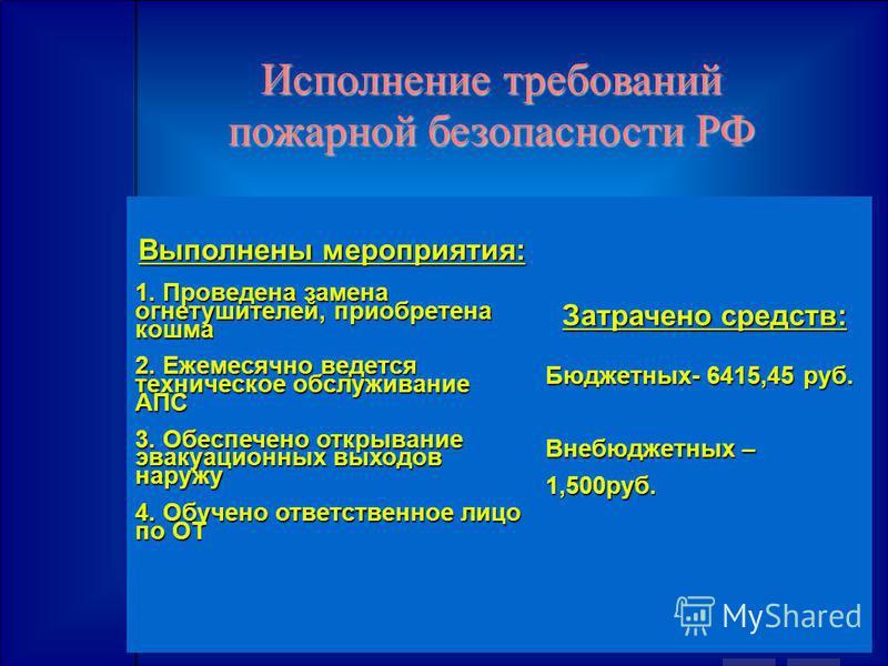 Исполнение требований пожарной безопасности РФ Выполнены мероприятия: 1. Проведена замена огнетушителей, приобретена кошма 2. Ежемесячно ведется техническое обслуживание АПС 3. Обеспечено открывание эвакуационных выходов наружу 4. Обучено ответственн