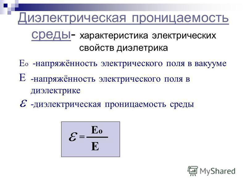 Диэлектрическая проницаемость среды Диэлектрическая проницаемость среды- характеристика электрических свойств диэлектрика Е Ео Ео -напряжённость электрического поля в вакууме -напряжённость электрического поля в диэлектрике -диэлектрическая проницаем