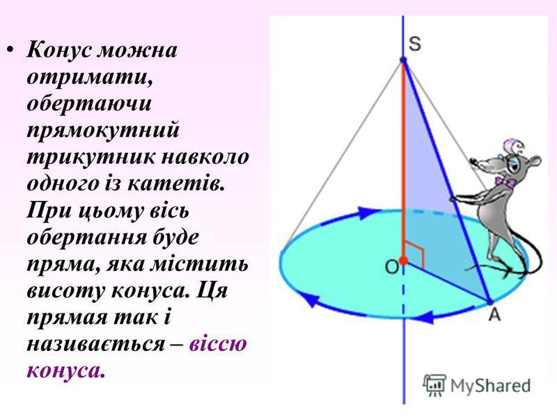 Конус можна отримати, обертаючи прямокутний трикутник навколо одного із катетів. При цьому вісь обертання буде пряма, яка містить висоту конуса. Ця прямая так і називається – віссю конуса.
