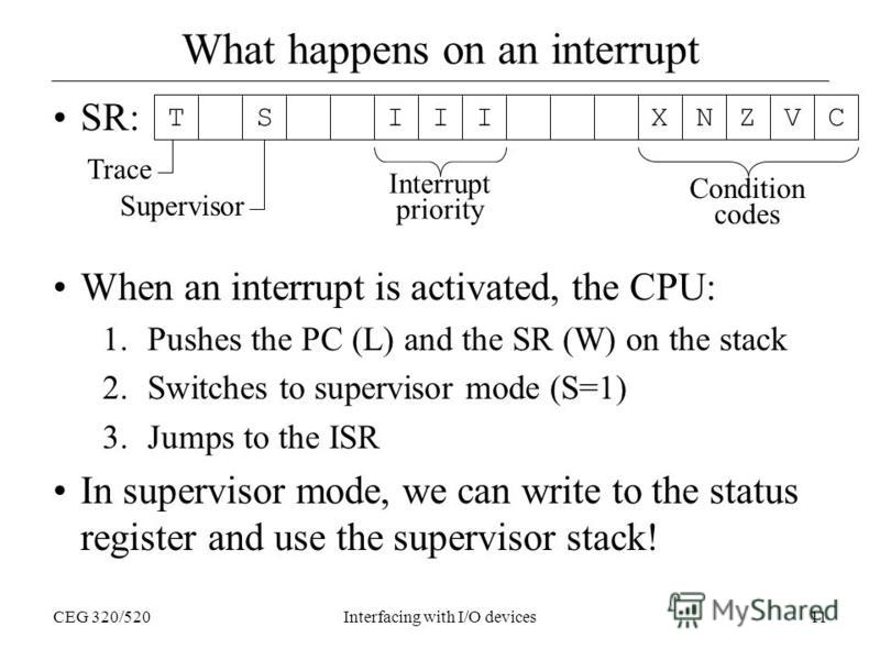 CEG 320/520Interfacing with I/O devices11 What happens on an interrupt SR: When an interrupt is activated, the CPU: 1.Pushes the PC (L) and the SR (W) on the stack 2.Switches to supervisor mode (S=1) 3.Jumps to the ISR In supervisor mode, we can writ