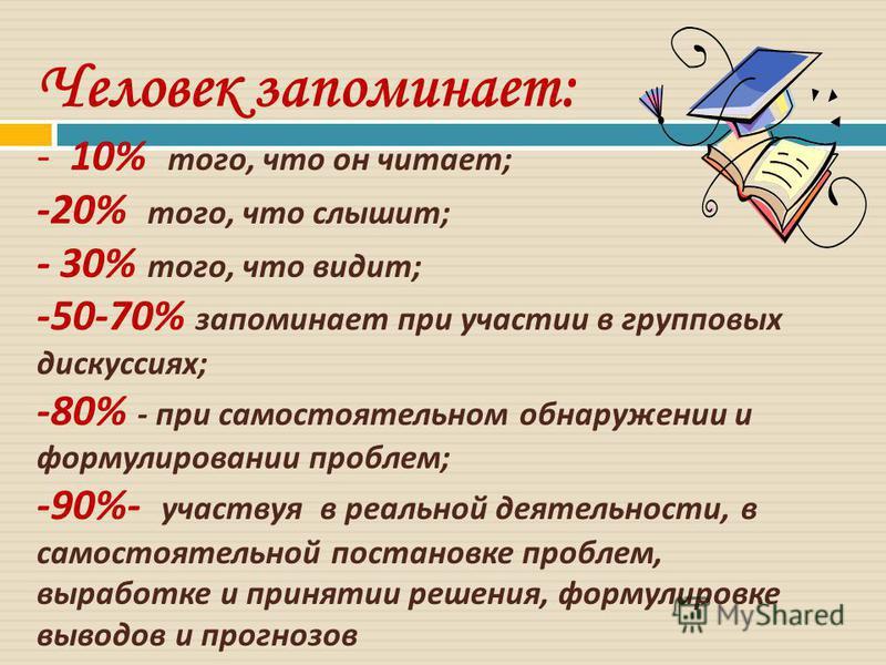 Человек запоминает: - 10% того, что он читает ; -20% того, что слышит ; - 30% того, что видит ; -50-70% запоминает при участии в групповых дискуссиях ; -80% - при самостоятельном обнаружении и формулировании проблем ; -90%- участвуя в реальной деятел