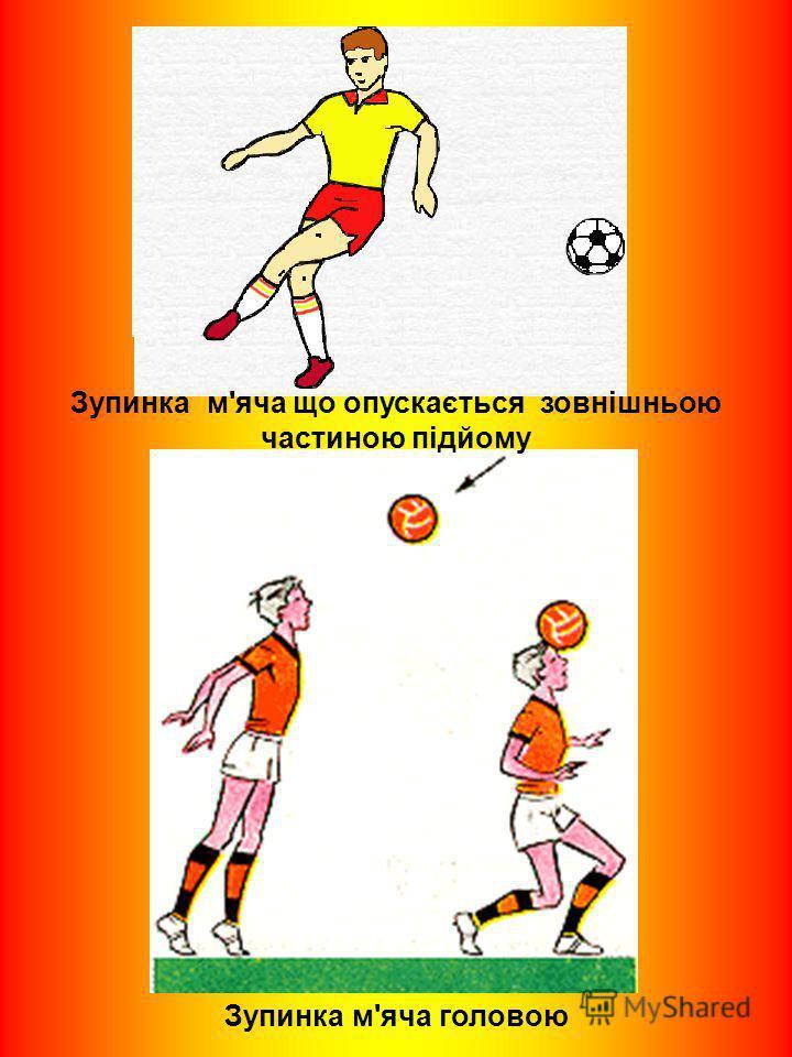 Зупинка м'яча що опускається зовнішньою частиною підйому Зупинка м'яча головою