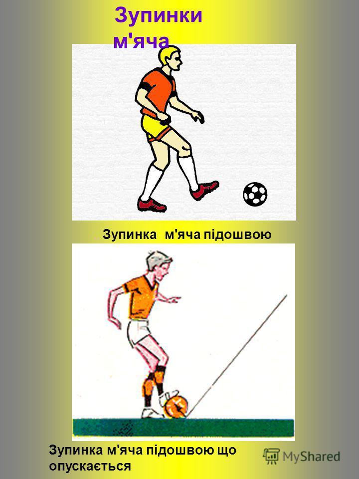 Зупинки м'яча.. Зупинка м'яча підошвою Зупинка м'яча підошвою що опускається