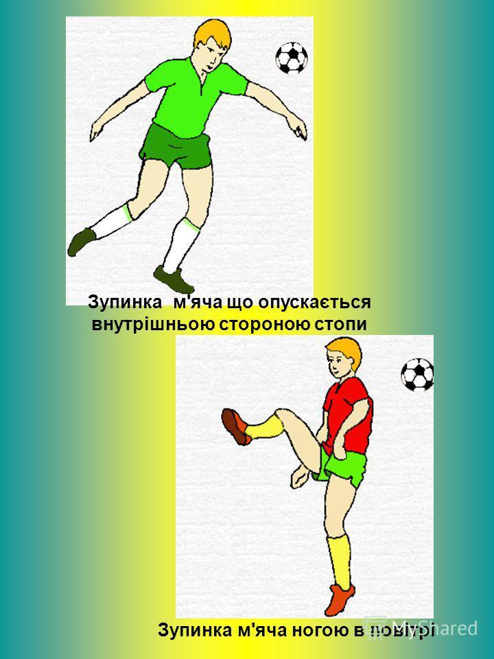 Зупинка м'яча що опускається внутрішньою стороною стопи Зупинка м'яча ногою в повітрі