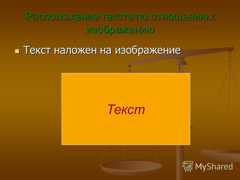 Расположение текста по отношению к изображению Текст наложен на изображение Текст наложен на изображение Текст