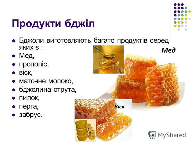 Продукти бджіл Бджоли виготовляють багато продуктів серед яких є : Мед, прополіс, віск, маточне молоко, бджолина отрута, пилок, перга, забрус.