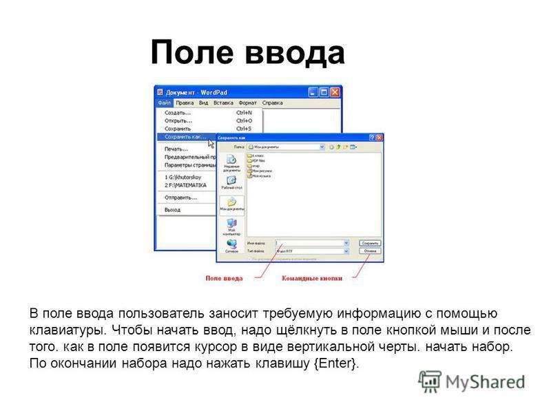 Поле ввода В поле ввода пользователь заносит требуемую информацию с помощью клавиатуры. Чтобы начать ввод, надо щёлкнуть в поле кнопкой мыши и после того. как в поле появится курсор в виде вертикальной черты. начать набор. По окончании набора надо на