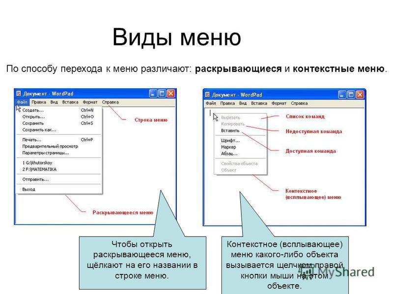 Виды меню По способу перехода к меню различают: раскрывающиеся и контекстные меню. Чтобы открыть раскрывающееся меню, щёлкают на его названии в строке меню. Контекстное (всплывающее) меню какого-либо объекта вызывается щелчком правой кнопки мыши на э