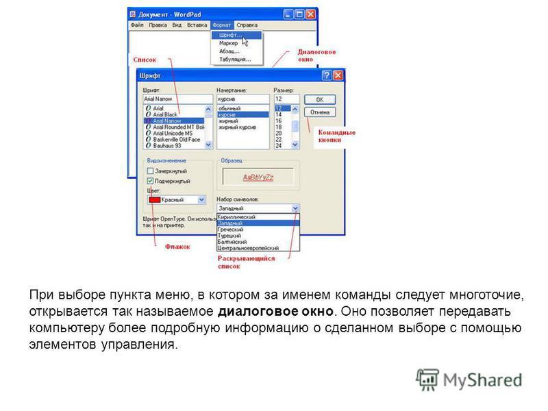 При выборе пункта меню, в котором за именем команды следует многоточие, открывается так называемое диалоговое окно. Оно позволяет передавать компьютеру более подробную информацию о сделанном выборе с помощью элементов управления.