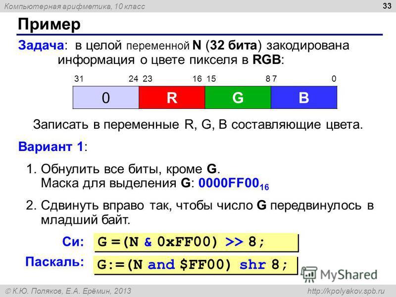 Компьютерная арифметика, 10 класс К.Ю. Поляков, Е.А. Ерёмин, 2013 http://kpolyakov.spb.ru Пример 33 Задача: в целой переменной N (32 бита) закодирована информация о цвете пикселя в RGB: Записать в переменные R, G, B составляющие цвета. Вариант 1: 1.