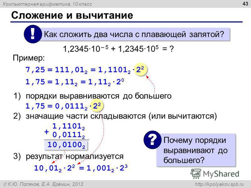 Компьютерная арифметика, 10 класс К.Ю. Поляков, Е.А. Ерёмин, 2013 http://kpolyakov.spb.ru Сложение и вычитание 43 1)порядки выравниваются до большего 2)значащие части складываются (или вычитаются) 3)результат нормализуется Как сложить два числа с пла