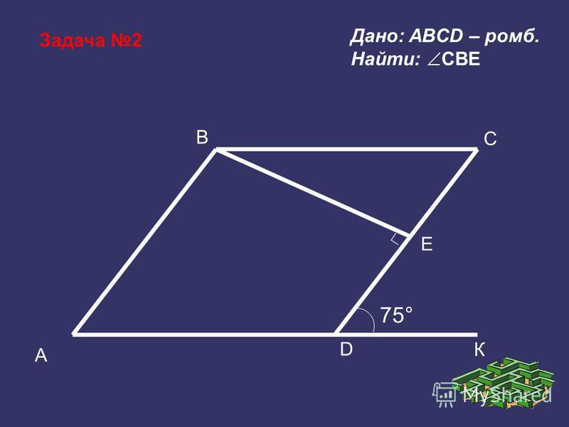 Задача 2 B A D Е C 75° К Дано: ABCD – ромб. Найти: CBE