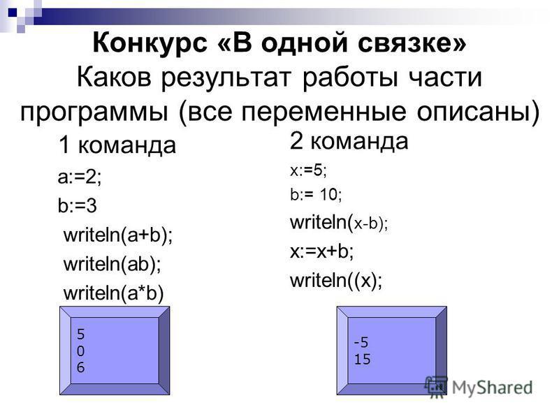 Конкурс «В одной связке» Каков результат работы части программы (все переменные описаны) 1 команда а:=2; b:=3 writeln(a+b); writeln(ab); writeln(a*b) 2 команда x:=5; b:= 10; writeln( x-b); x:=x+b; writeln((x); 506506 -5 15