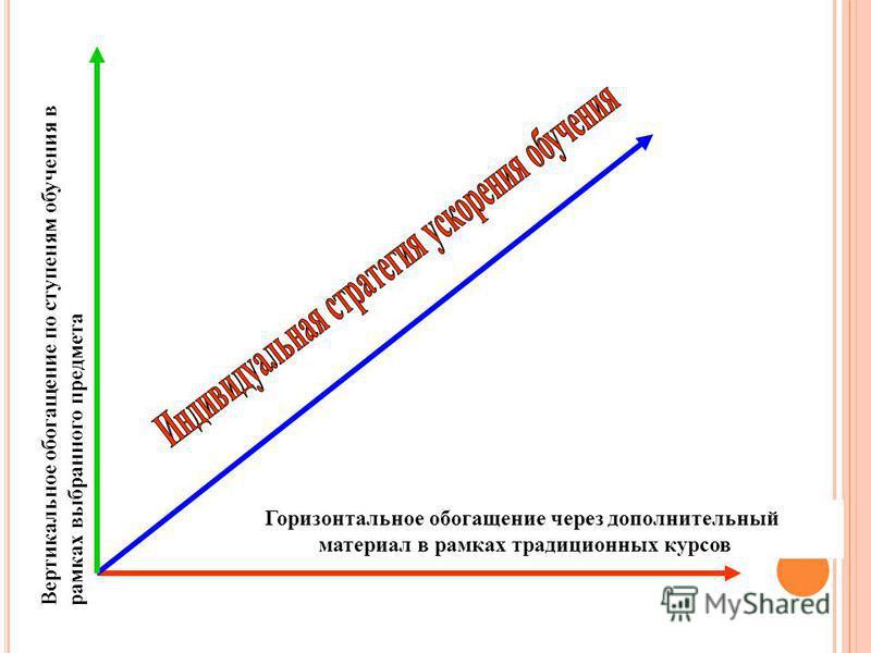 Горизонтальное обогащение через дополнительный материал в рамках традиционных курсов Вертикальное обогащение по ступеням обучения в рамках выбранного предмета