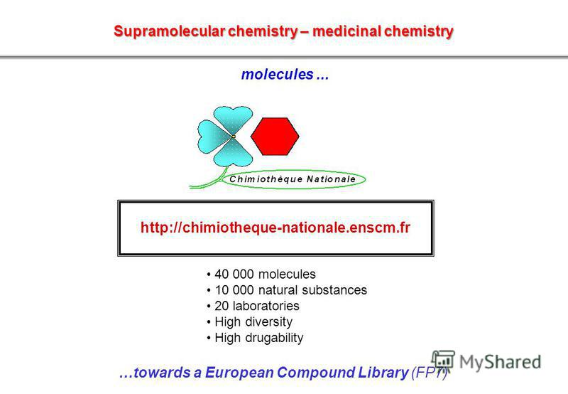 http://chimiotheque-nationale.enscm.fr 40 000 molecules 10 000 natural substances 20 laboratories High diversity High drugability …towards a European Compound Library (FP7) molecules... Supramolecular chemistry – medicinal chemistry