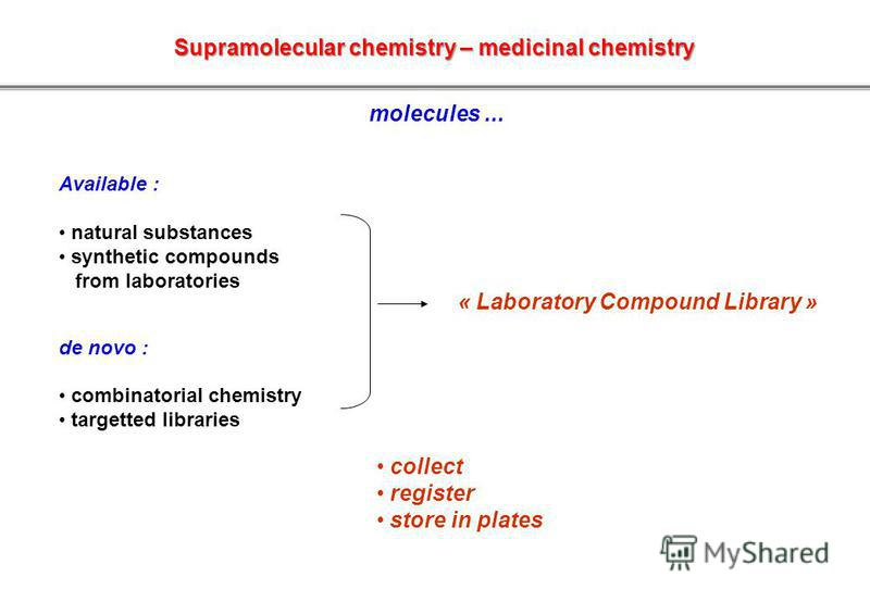 Available : natural substances synthetic compounds from laboratories de novo : combinatorial chemistry targetted libraries « Laboratory Compound Library » collect register store in plates molecules... Supramolecular chemistry – medicinal chemistry