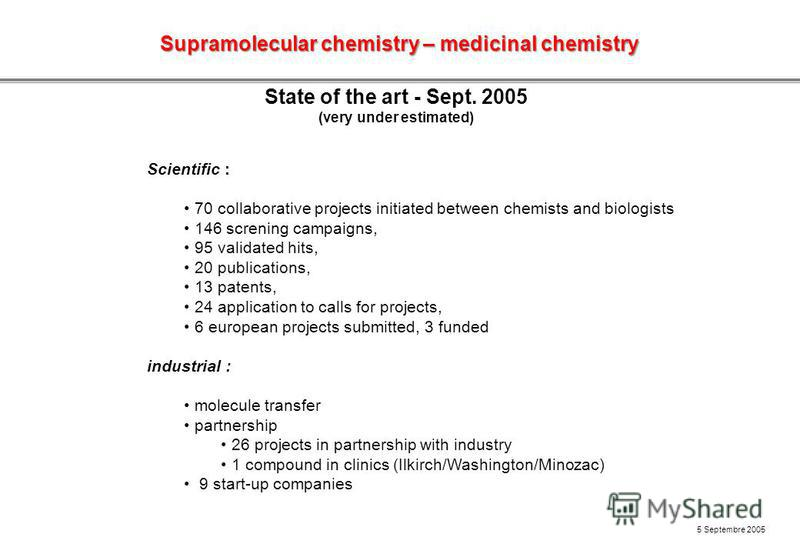 State of the art - Sept. 2005 (very under estimated) Scientific : 70 collaborative projects initiated between chemists and biologists 146 screning campaigns, 95 validated hits, 20 publications, 13 patents, 24 application to calls for projects, 6 euro