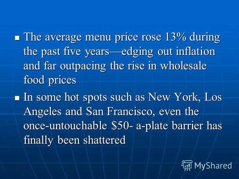 The average menu price rose 13% during the past five yearsedging out inflation and far outpacing the rise in wholesale food prices The average menu price rose 13% during the past five yearsedging out inflation and far outpacing the rise in wholesale