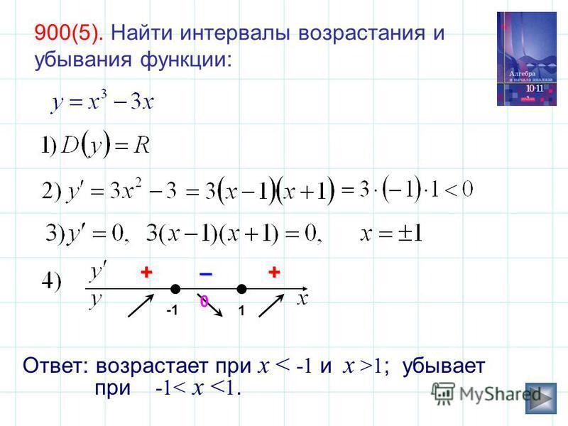 Ответ: возрастает при x 1 ; убывает при -1< x < 1. 1 +–+ 0 0 900(5). Найти интервалы возрастания и убывания функции: