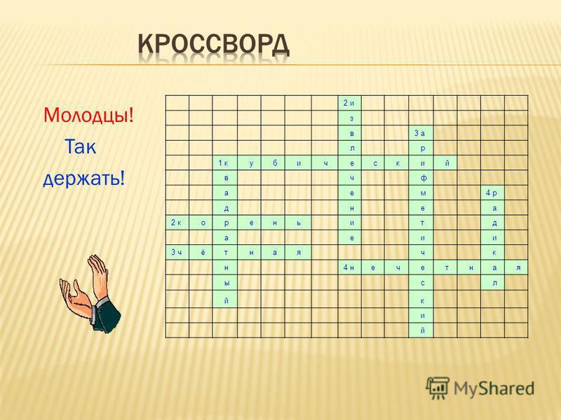 Молодцы! Так держать! 2 и з в 3 а л р 1 кубический в ч ф а е м 4 р д н е а 2 корень и т д а е и и 3 ч ё т н а я ч к н 4 н е ч е т н а я ы с л й кий