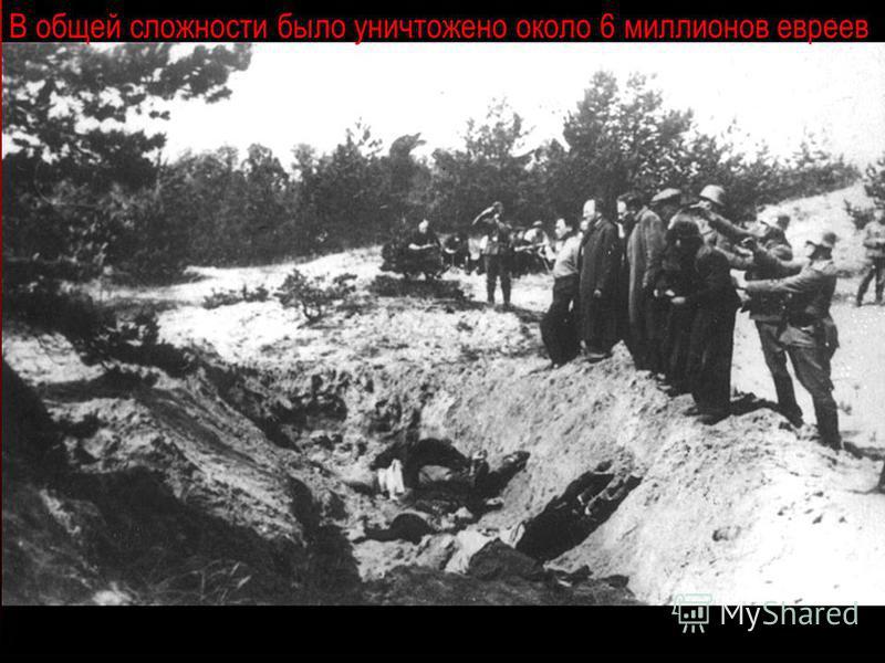 В общей сложности было уничтожено около 6 миллионов евреев