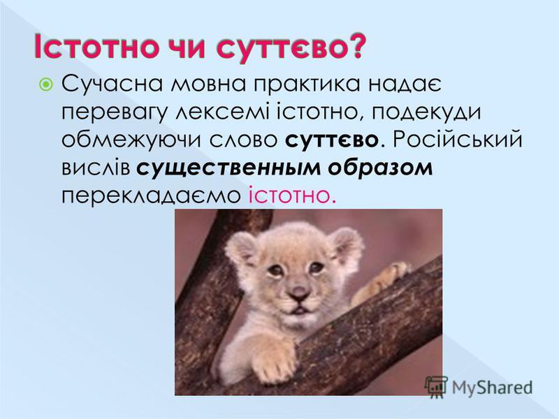 Сучасна мовна практика надає перевагу лексемі істотно, подекуди обмежуючи слово суттєво. Російський вислів существенным образом перекладаємо істотно.