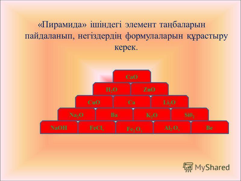 Si0 2 Nа 2 O Al 2 O з Fе 2 O з FеСl з NaOHBe CuO K2OK2OBa H2OH2O Li 2 OCa ZnO CaO «Пирамида» ішіндегі элемент таңбаларын пайдаланып, негіздердің формулаларын құрастыру керек.