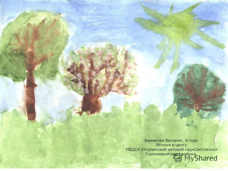 Ванюкова Валерия, 4 года Яблоня в цвету МБДОУ «Усолинский детский сад«Светлячок» Горномарийского района