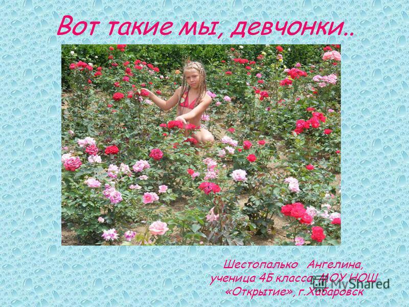 Вот такие мы, девчонки.. Шестопалько Ангелина, ученица 4Б класса, МОУ НОШ «Открытие», г.Хабаровск
