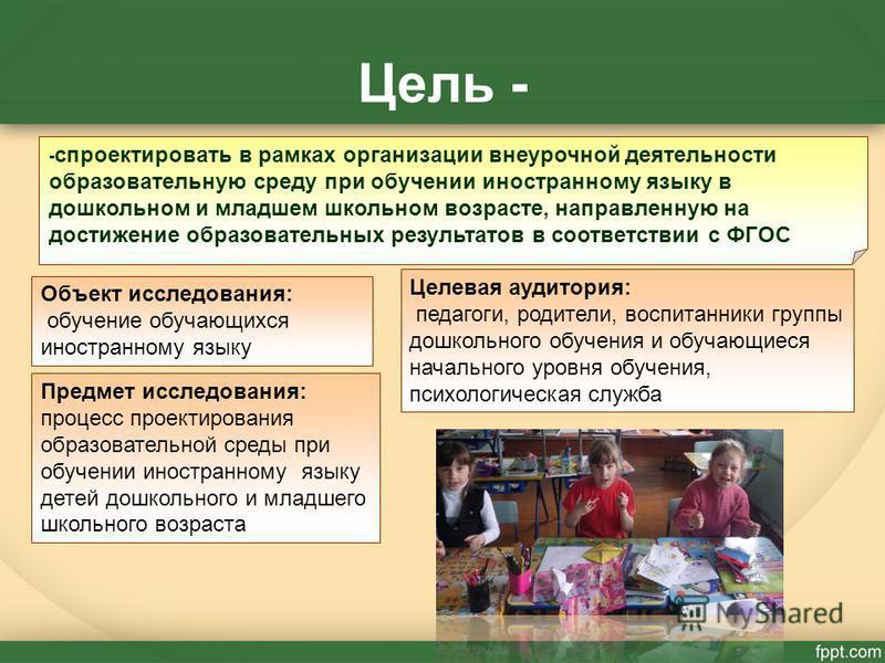 Цель - - спроектировать в рамках организации внеурочной деятельности образовательную среду при обучении иностранному языку в дошкольном и младшем школьном возрасте, направленную на достижение образовательных результатов в соответствии с ФГОС Объект и
