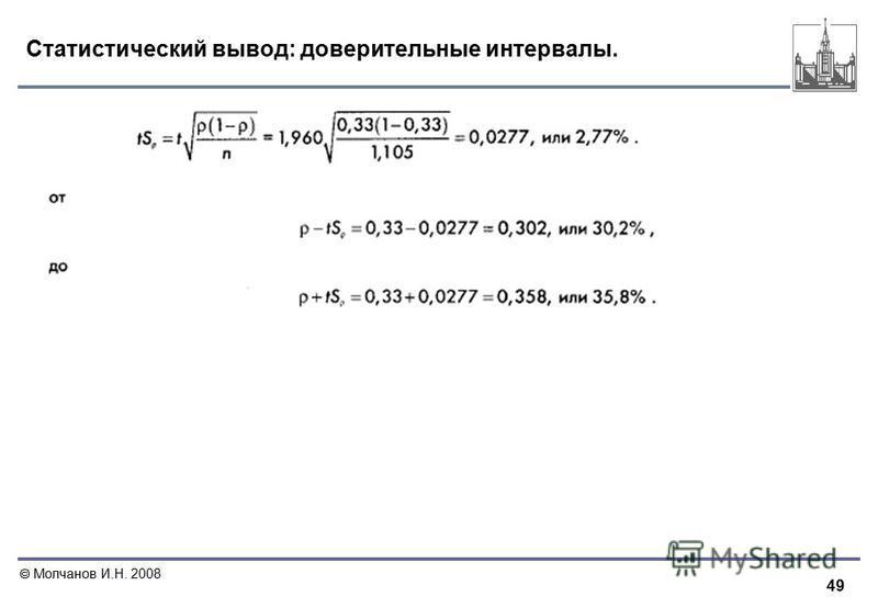 49 Молчанов И.Н. 2008 Статистический вывод: доверительные интервалы.