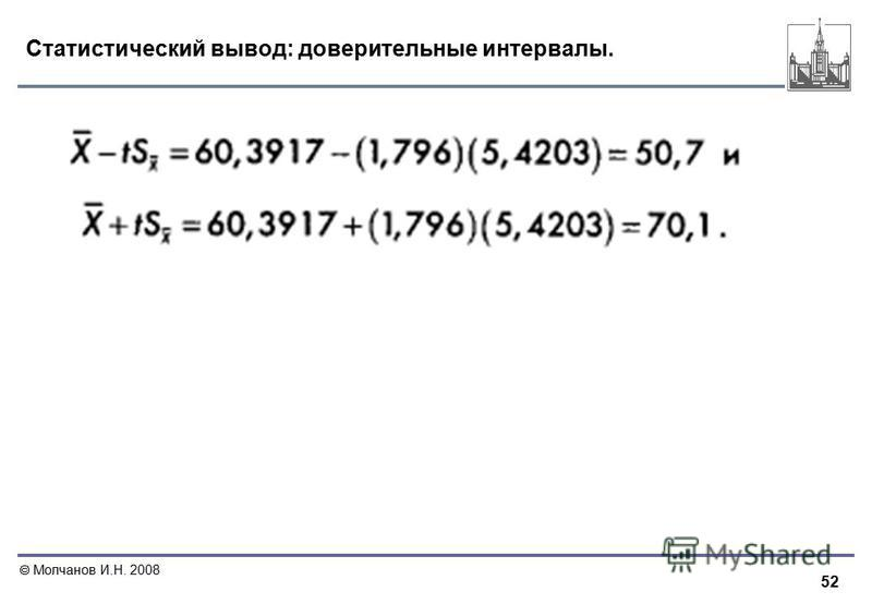 52 Молчанов И.Н. 2008 Статистический вывод: доверительные интервалы.