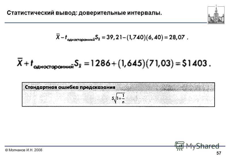 57 Молчанов И.Н. 2008 Статистический вывод: доверительные интервалы.