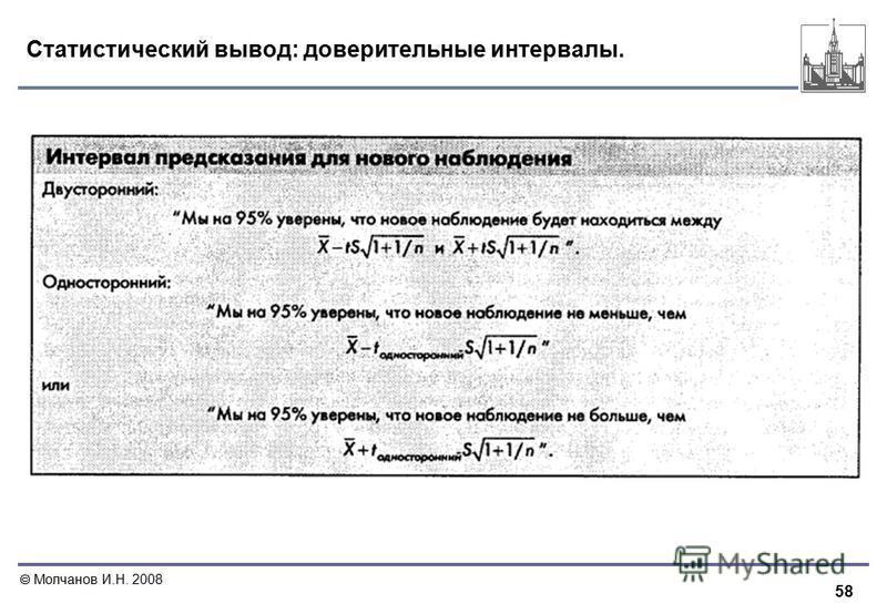 58 Молчанов И.Н. 2008 Статистический вывод: доверительные интервалы.