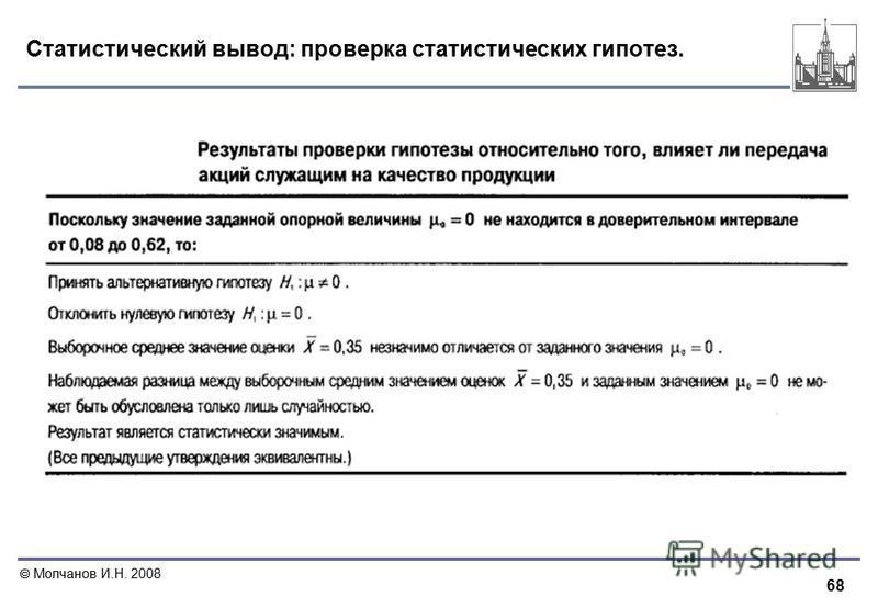 68 Молчанов И.Н. 2008 Статистический вывод: проверка статистических гипотез.
