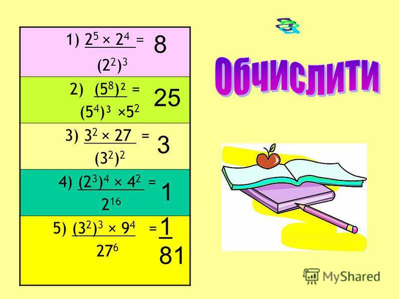 1) 2 5 × 2 4 = (2 2 ) 3 2) (5 8 )² = (5 4 )³ ×5 2 3) 3 2 × 27 = (3 2 ) 2 4) (2 3 ) 4 × 4 2 = 2 16 5) (3 2 ) 3 × 9 4 = 27 6 8 25 3 1 1 81