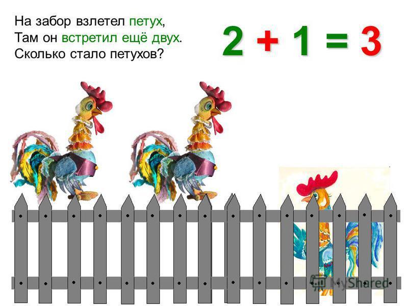 На забор взлетел петух, Там он встретил ещё двух. Сколько стало петухов? 2 + 1 = 3