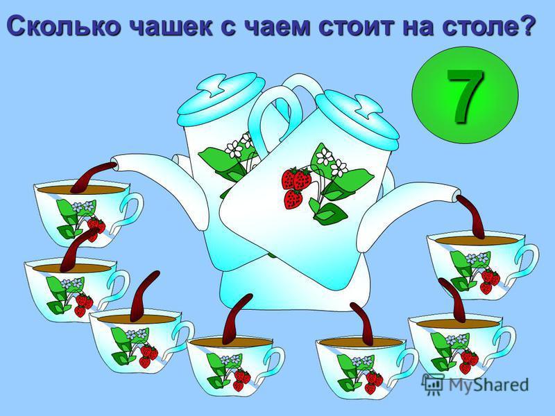 Сколько чашек с чаем стоит на столе? 7