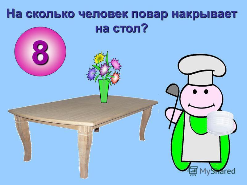 На сколько человек повар накрывает на стол? 8