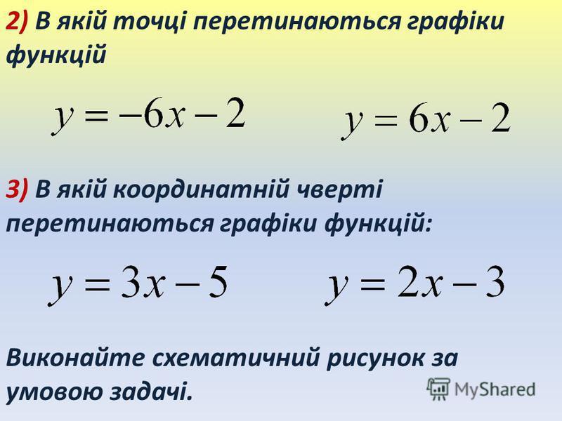 2) В якій точці перетинаються графіки функцій 3) В якій координатній чверті перетинаються графіки функцій: Виконайте схематичний рисунок за умовою задачі.