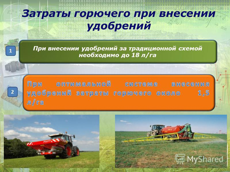 При внесении удобрений за традиционной схемой необходимо до 18 л/га Затраты горючего при внесении удобрений 1 2