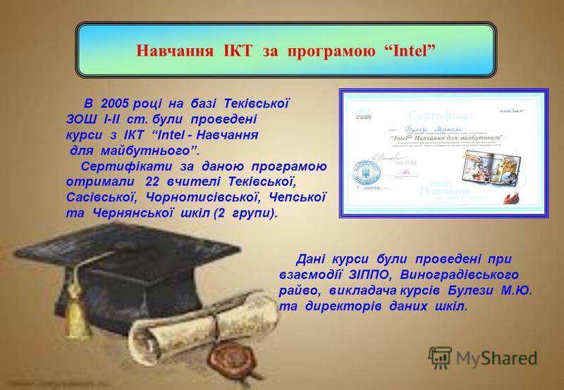 Навчання ІКТ за програмою Intel В 2005 році на базі Теківської ЗОШ І-ІІ ст. були проведені курси з ІКТ Intel - Навчання для майбутнього. Сертифікати за даною програмою отримали 22 вчителі Теківської, Сасівської, Чорнотисівської, Чепської та Чернянськ