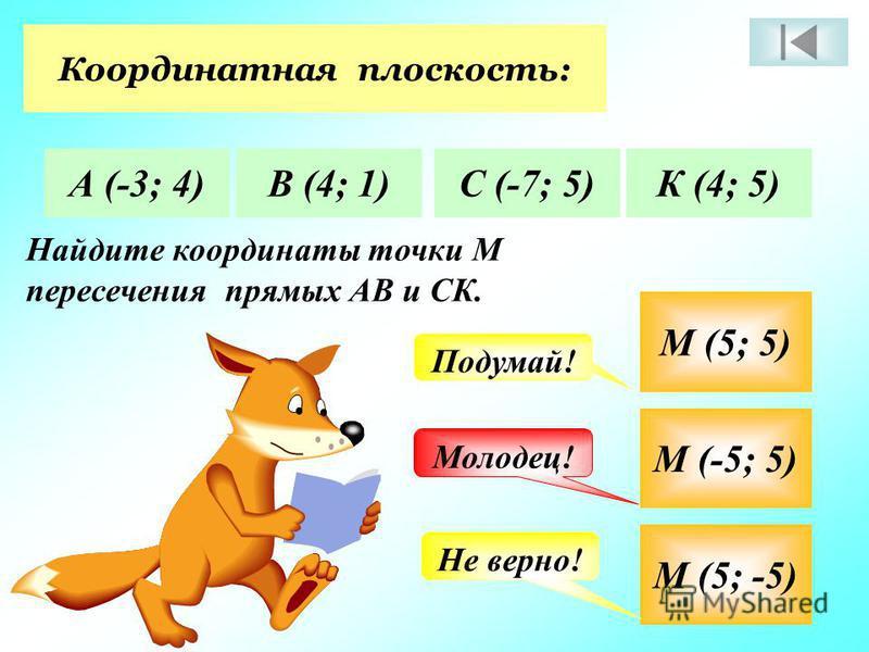 Координатная плоскость: А (-3; 4)В (4; 1)С (-7; 5)К (4; 5) Найдите координаты точки М пересечения прямых АВ и СК. М (5; 5) М (-5; 5) М (5; -5) Молодец! Подумай! Не верно!