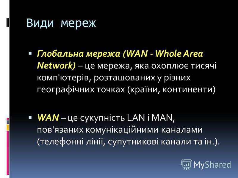 Види мереж Глобальна мережа (WAN - Whole Area Network) – це мережа, яка охоплює тисячі комп'ютерів, розташованих у різних географічних точках (країни, континенти) WAN – це сукупність LAN i MAN, пов'язаних комунікаційними каналами (телефонні лінії, су
