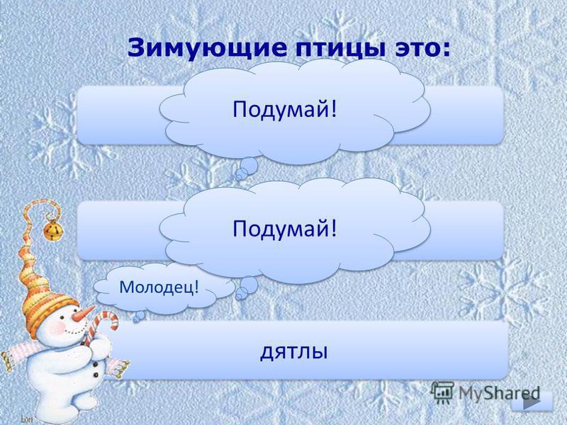 Зимующие птицы это: ласточки снегири дятлы Молодец! Подумай!