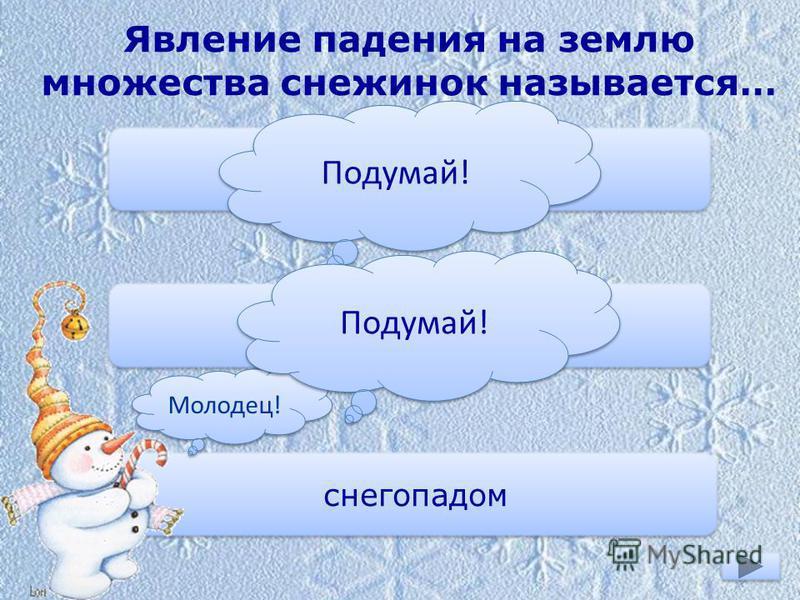 Явление падения на землю множества снежинок называется… снежной крошкой снежной крупой снегопадом Молодец! Подумай!