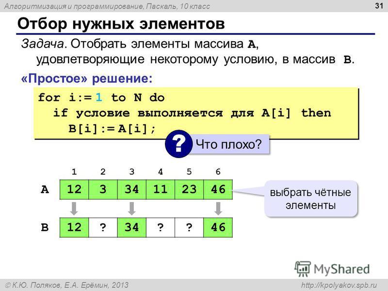 Алгоритмизация и программирование, Паскаль, 10 класс К.Ю. Поляков, Е.А. Ерёмин, 2013 http://kpolyakov.spb.ru Отбор нужных элементов 31 «Простое» решение: Задача. Отобрать элементы массива A, удовлетворяющие некоторому условию, в массив B. for i:= 1 t
