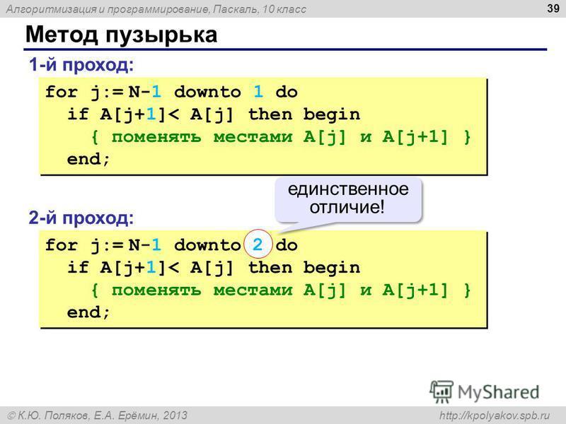 Алгоритмизация и программирование, Паскаль, 10 класс К.Ю. Поляков, Е.А. Ерёмин, 2013 http://kpolyakov.spb.ru Метод пузырька 39 1-й проход: for j:= N-1 downto 1 do if A[j+1]< A[j] then begin { поменять местами A[j] и A[j+1] } end; for j:= N-1 downto 1