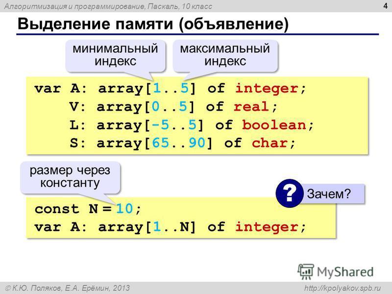 Алгоритмизация и программирование, Паскаль, 10 класс К.Ю. Поляков, Е.А. Ерёмин, 2013 http://kpolyakov.spb.ru Выделение памяти (объявление) 4 var A: array[1..5] of integer; V: array[0..5] of real; L: array[-5..5] of boolean; S: array[65..90] of char;