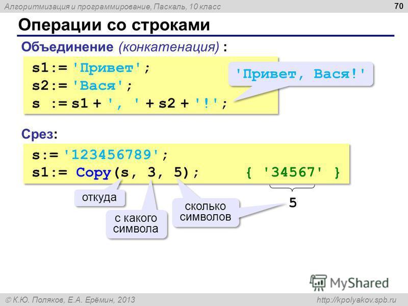 Алгоритмизация и программирование, Паскаль, 10 класс К.Ю. Поляков, Е.А. Ерёмин, 2013 http://kpolyakov.spb.ru Операции со строками 70 Объединение (конкатенация) : s1:= 'Привет'; s2:= 'Вася'; s := s1 + ', ' + s2 + '!'; s1:= 'Привет'; s2:= 'Вася'; s :=